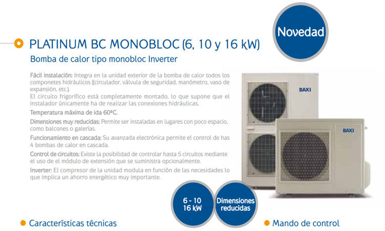 Bomba de calor Baxi Platinum BC Monobloc 16 MR precio